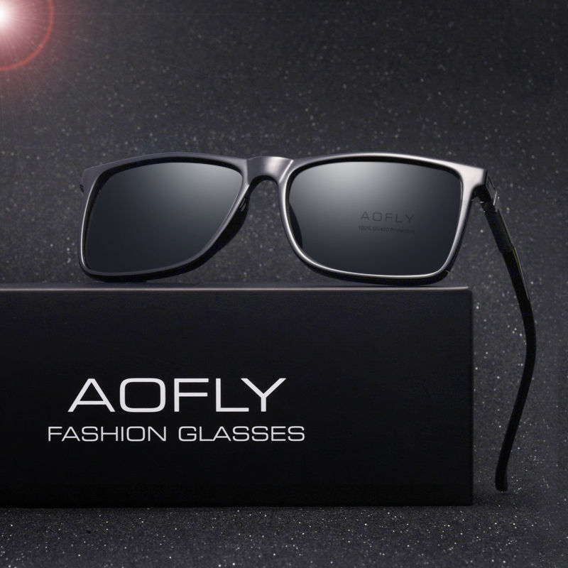 AOFLY Brand Classic Black Polarized Sunglassess