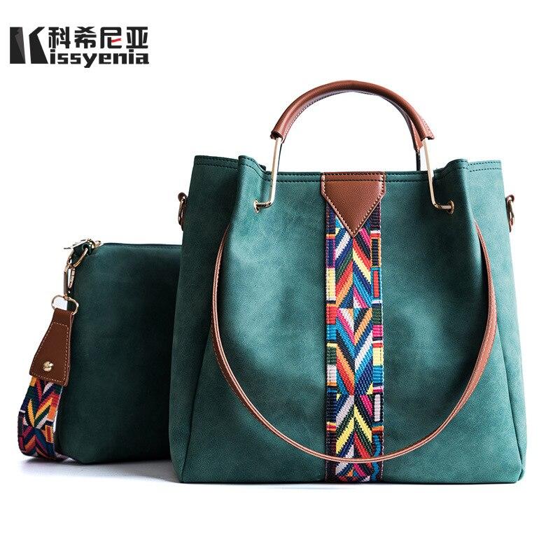 Kissyenia Women Geniune Leather PU Composite Handbags 2pcs/set Women Large Shoulder Bags Casual Shopping Top Handle Bags KS1042