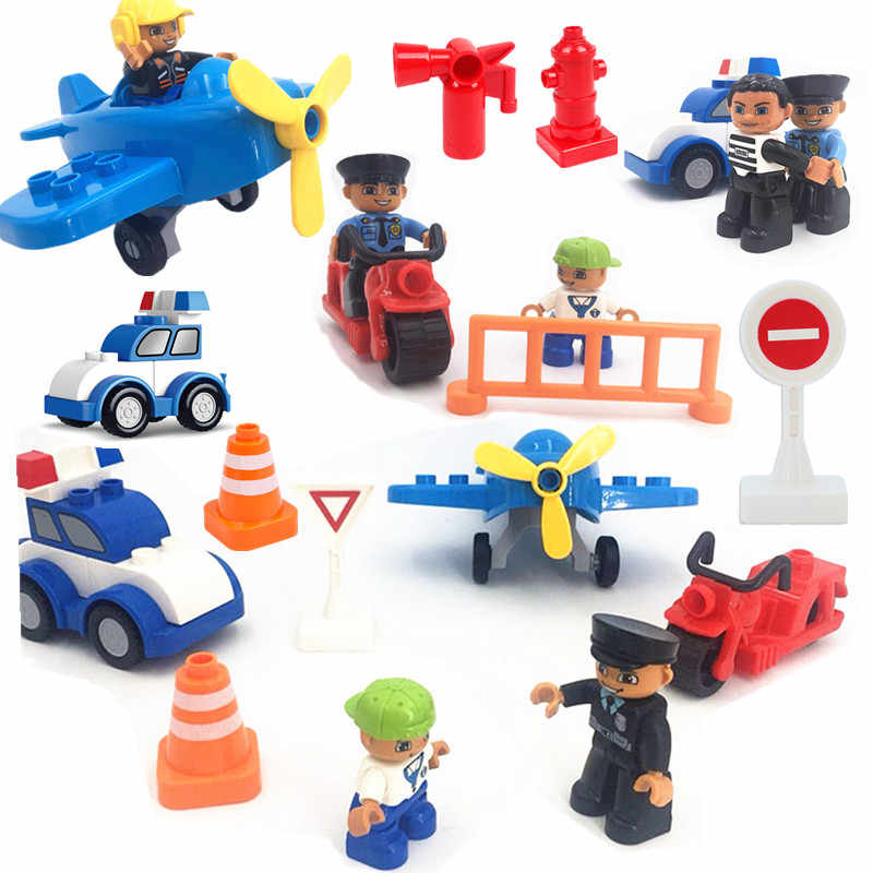 Single Sale Diy Traffic Scene Car Building Blocks Big Size Play Bricks Compatible with L Brand Duploed Parts Toys for Children