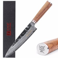 Sunlong 8 Inch Professional Chef Knife Damascus Steel V10 Steel Core Gyuto ,straight Walnut Wood Handle