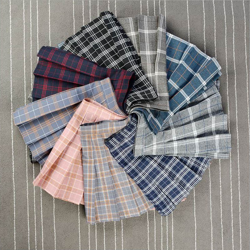 Mini Skirts Pleated Plaid Female High-Waist Plus-Size Women New XS-3XL -9702 Lady