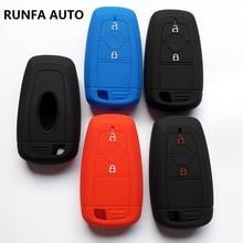 RUNFA AUTO Keyless Remote Interior Accessory Key Cover For Ford 2018 EcoSport Titanium 2Button Silicon Skin Case Protector