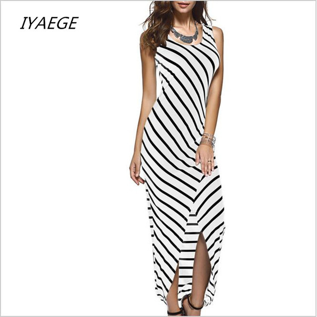 10c9f4609f Women Black White Striped Boho Maxi Dresses 2017 Summer Style Sleeveless  Beach Sexy Ladies Casual Long Dress Vestidos Plus Size