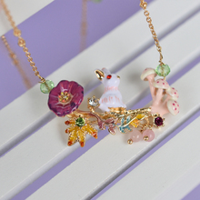 European and American Fashion Jewelry Cloisonne Enamel Bunnies Mushroom Red daisy Flowers Les Necklace