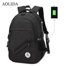 Aolida рюкзак Для мужчин Для женщин Сумки-холсты Рюкзаки Для мужчин путешествия USB дизайнер Ёмкость мужской рюкзак для школы Обувь для девочек Обувь для мальчиков черный 2017