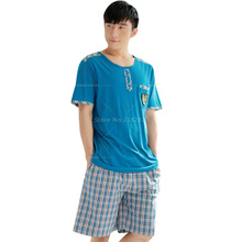 New Arrival Check Pajama Shorts Sexy Mens Sleepwear Underwear Tees Undershirts Pajama Sets Casual Lounge&Sleep Homewear Sets