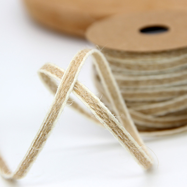 Rouleaux de toile de Jute avec dentelle, ruban hessien, décoration Vintage rustique de mariage, fête de naissance, boîte à cadeaux dartisanat bricolage-même, 10M