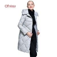 OMLESA Marke Frauen Daunenjacke 2017 Neue Europäische Mit Kapuze Weiße Ente Daunenmantel Damen Lange Verdicken Warm Wattierter Parka YQ102
