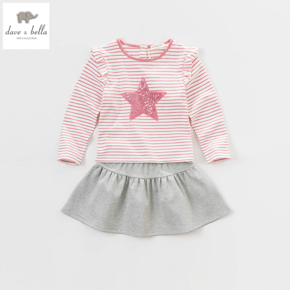 DK0628 dave bella spring summer kids girls t-shirt  tops skirt dress star pink stripe O-Neck clothing sets  casual clothes child db3814 dave bella autumn baby boys star printed t shirt kids navy tees bosy tops kids t shirts