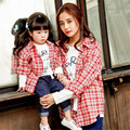 2017 Spring Matching Mother Daughter Clothes Mother Son Outfits Letter Printed European Style Cotton Plaid Shirt Kids Clothes