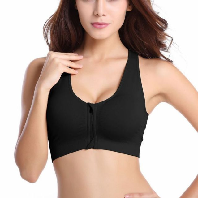 0973328afbbcd Women Front Zipper Closure Push Up Bras Removable Padded Wireless  Shockproof Fitness Vest Tops Seamless Racer