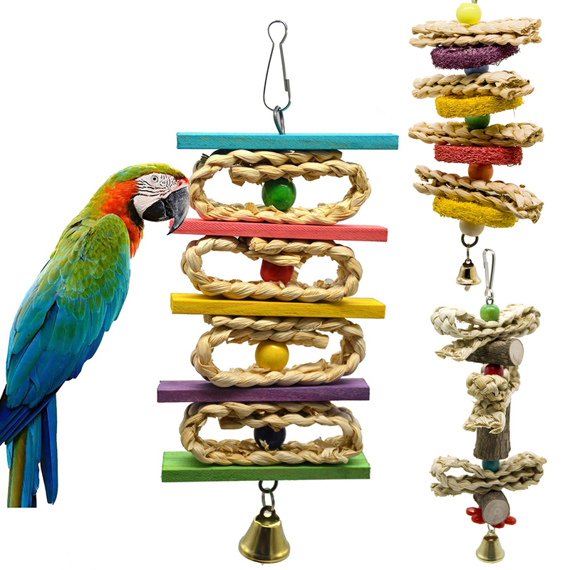 4 Styles Bird Toy Wood Hanging Parrot Toy Healthy Bite Chewing Pecking Bird Pet Toy Cute Pet Bird Product Aves Vogel Speelgoed 4