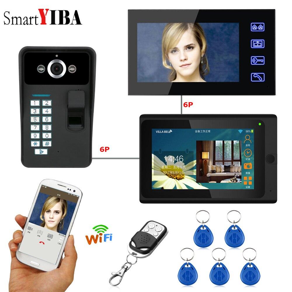 SmartYIBA Fingerprint Access Wireless Video Intercom App Answered Wifi Video Door Bell Intercoms For Private Home 2 Monitors