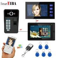 SmartYIBA отпечатков пальцев доступа беспроводное видеопереговорное устройство приложение ответил Wi Fi видео дверной звонок домофоны для частн...