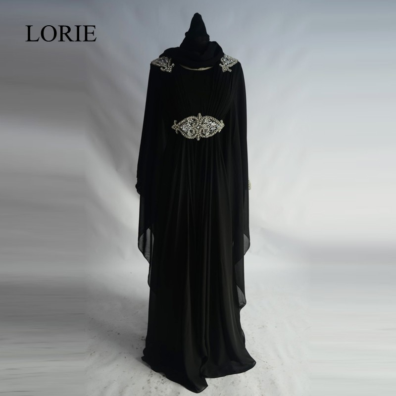 Abaya In Dubai Maxi Hijab   Evening     Dresses   2017 LORIE Kaftan Muslim Women Black Long Sleeve Prom   Dresses   To Party With Crystals