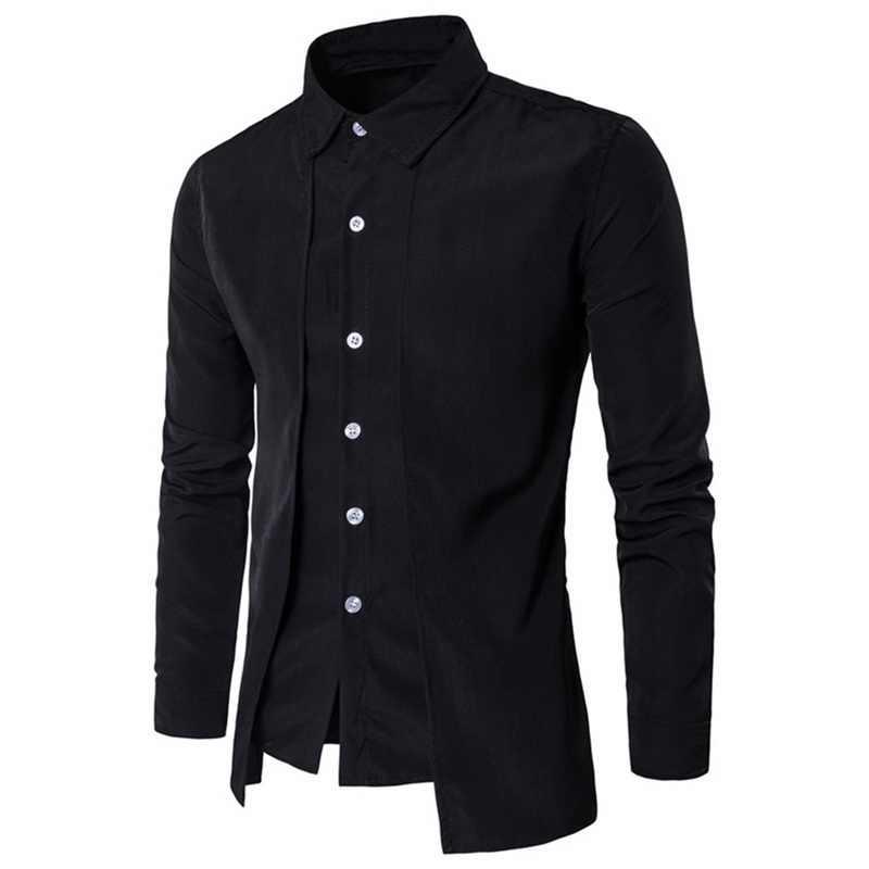 MJARTORIA 2019 Nieuwe Merk Mannen Business Shirt Herfst Mode Solid Two Pieces Jurk Shirts Oorzakelijk Lange Mouwen Camisa Shirts