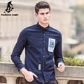Пионерский Лагерь Новый Мужская мода Рубашки Повседневные Slim Fit С Длинным Рукавом синий эластичный марка одежды Осень дизайнер Платье Рубашка 611504