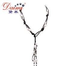 DAIMI 9-10 MM Natural Blanco Barroco de La Perla y Collar De Cuero Negro Joyería de Perlas Largo Collar