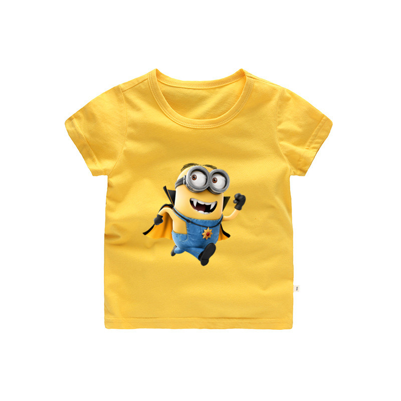 Yellow Minion Shocked Tee T-Shirt Boys /& Girls Unisex Children // Kids