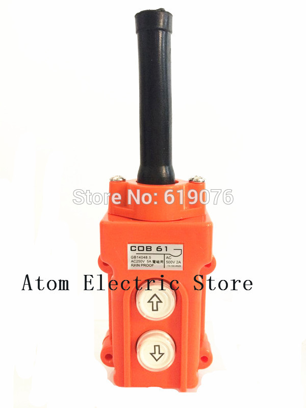 Water Proof <font><b>Hoist</b></font> Crane Pendant Up Down Station Pushbutton Switch COB-61 image