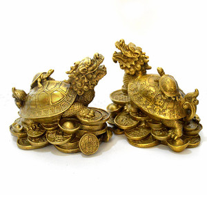 Image 2 - סין Fengshui פליז הדרקון צב צב עושר מזל פסל מתכת מלאכות פנג שואי מתנת קישוטי מתכת מלאכת יד