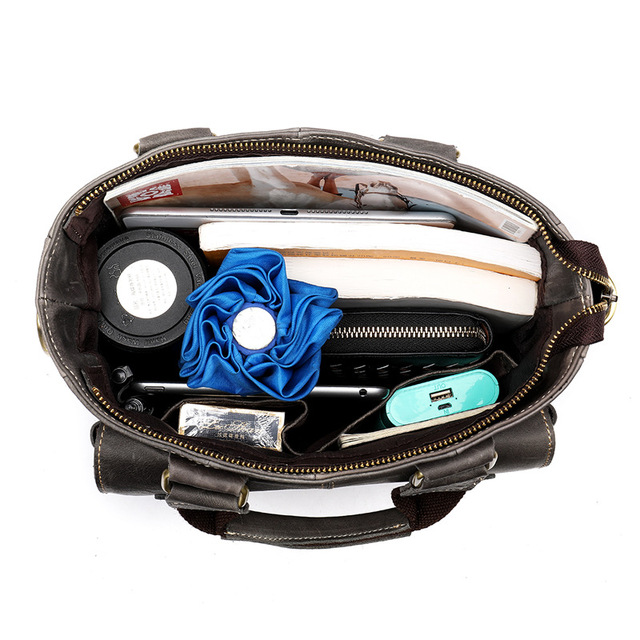 Genuine Leather Laptop Bag For Men Vertical Handbag
