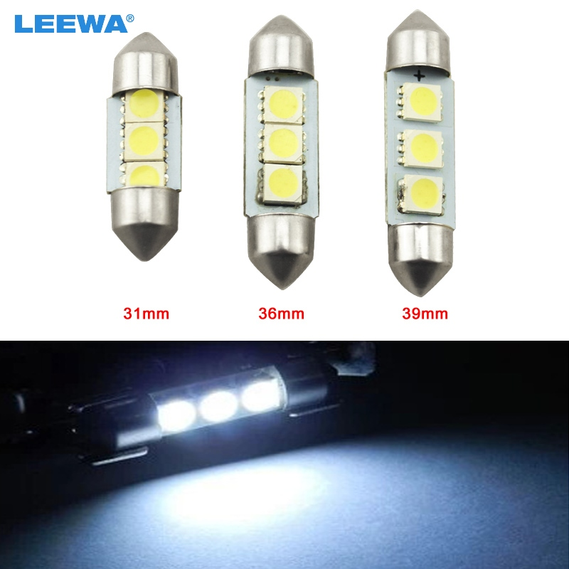 LEEWA 1pc White Car Auto 31mm 36mm 39mm 5050 Chip 3-SMD Reading Lights Festoon Dome LED Light Bulbs #CA3052 2pcs festoon led 36mm 39mm 41mm canbus auto led lamp 12v festoon dome light led car dome reading lights c5w led canbus 36mm 39mm