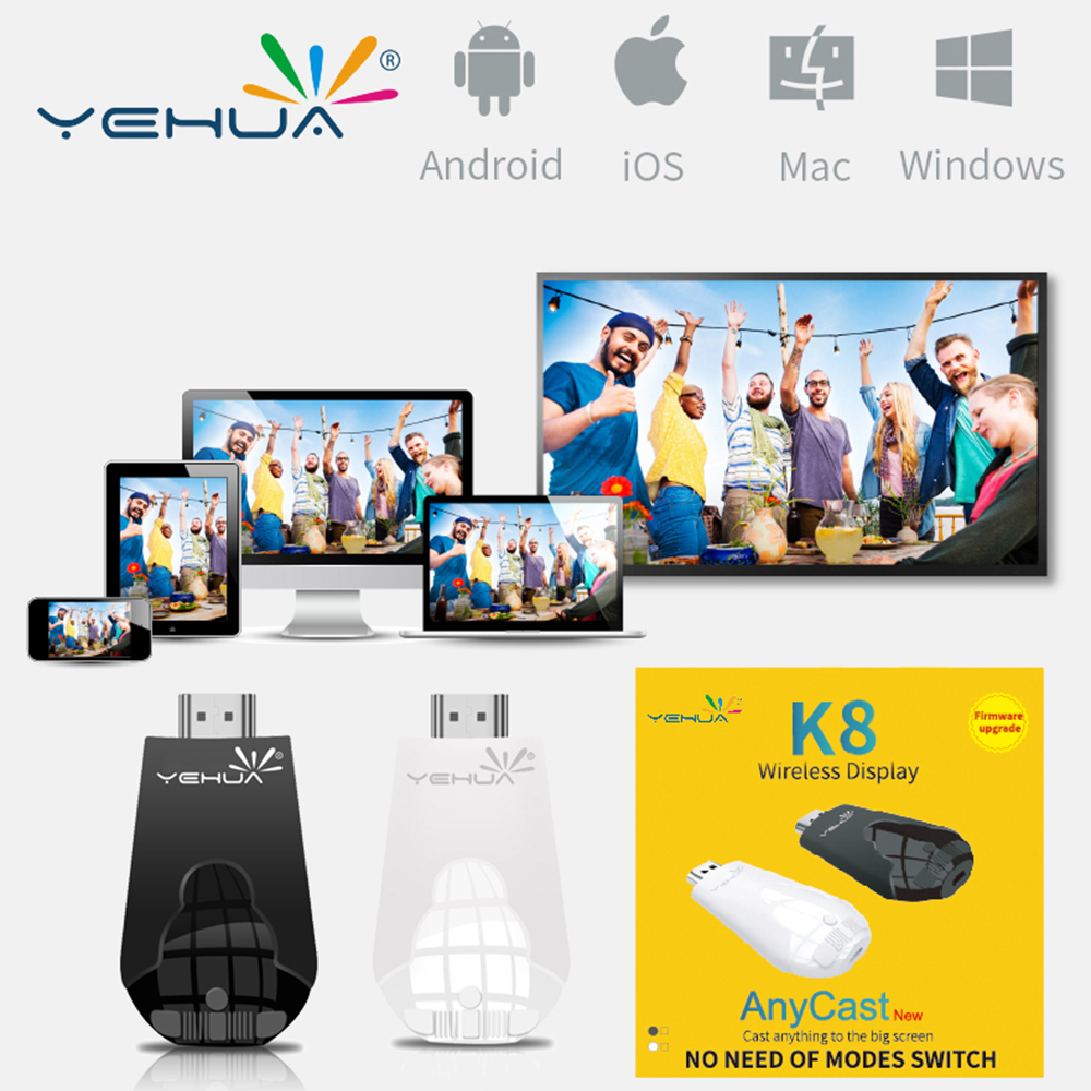Free Shipping Yehua K8 wireless display Anycast Vs K4 airplay dongle miracast DLNA mirroring HD 1080P Receiver PK Chromecast