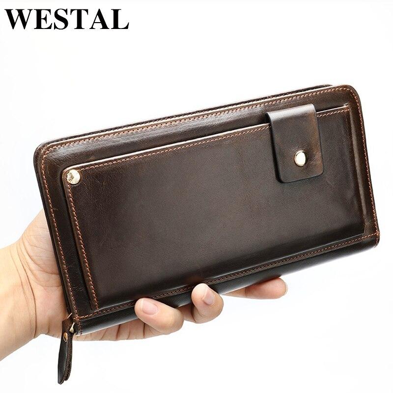WESTAL Male Wallet Purse Card-Holder Cluth-Bag Wrist-Money-Bag Designer Genuine-Leather