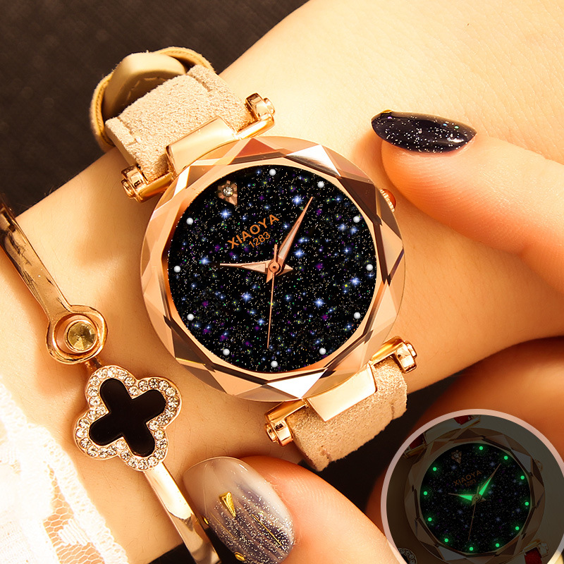 Luxury Women Watches Starry Sky  Personality Romantic Wrist Watch Leather Rhinestone Designer Ladies Red Clock Fashion Watch