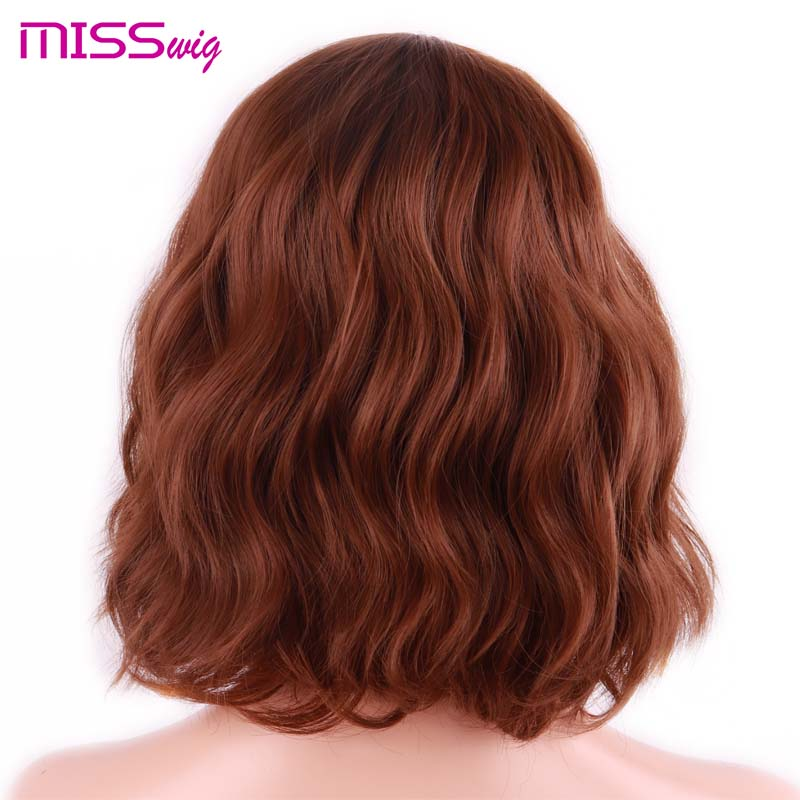MISS WIG Short Water Wave Synthetic Hair 8Colors Available Wig For Women Heat Resistant Fiber Daily False Hair 2
