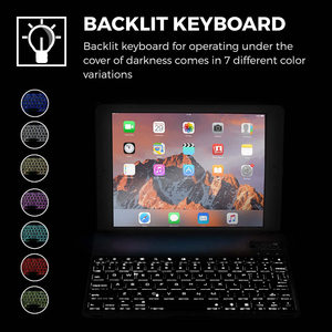 Image 5 - For iPad mini 1/2/3/4/5 Ultra Thin Smart Aluminum Bluetooth Russian/Spanish/Hebrew Keyboard Case Cover With 7 Colors LED Backlit