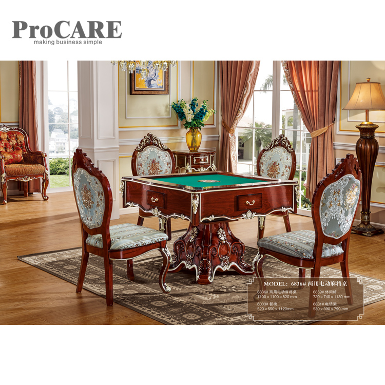 Popular used in hotel high quality luxury modern royal dining table and automatic mahjong table - 6836