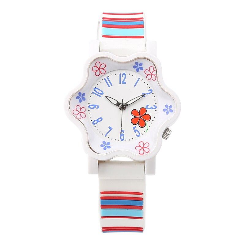 Jauns zīmols modes ziedu ūdensizturīgs bērniem kvarca pulksteņi silikona siksnas sporta meitenes skatīties jauku studentu kleita rokas pulkstenis