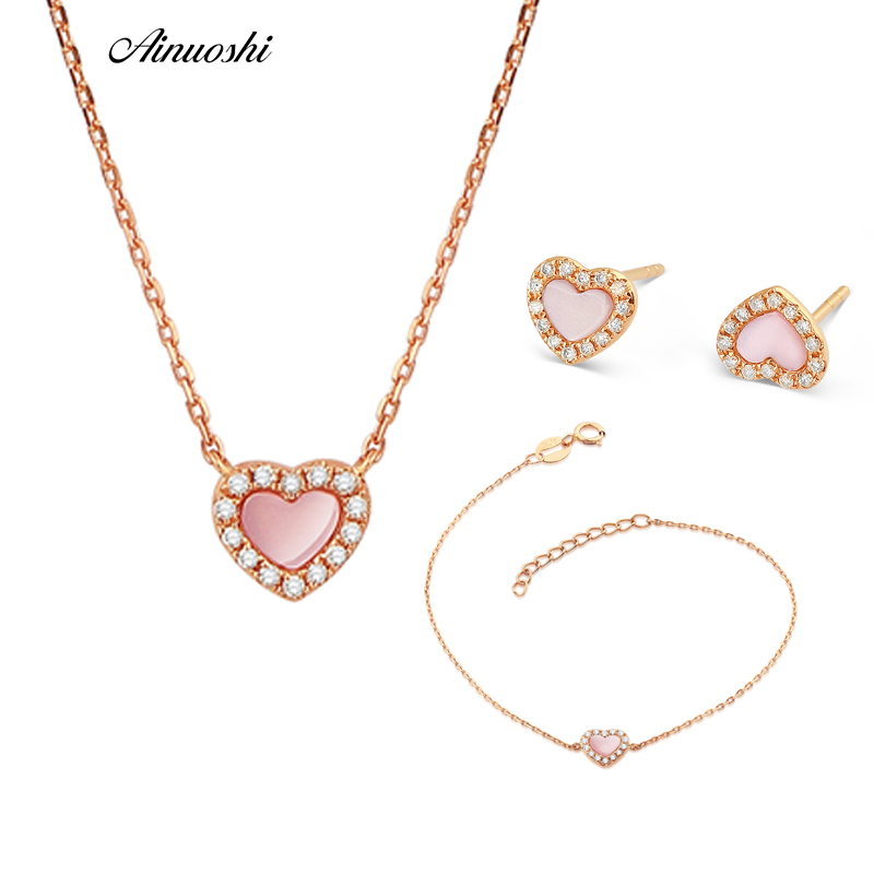 AINUOSHI Genuine 18K Rose Gold Heart Gem Sets Natural Pink Onyx Ring Real Diamond Pendant Necklace Bracelet Female Jewelry Sets ainuoshi pure 18k white gold female diamond sets natural white onyx round shaped earring pendant necklace bracelet jewelry sets