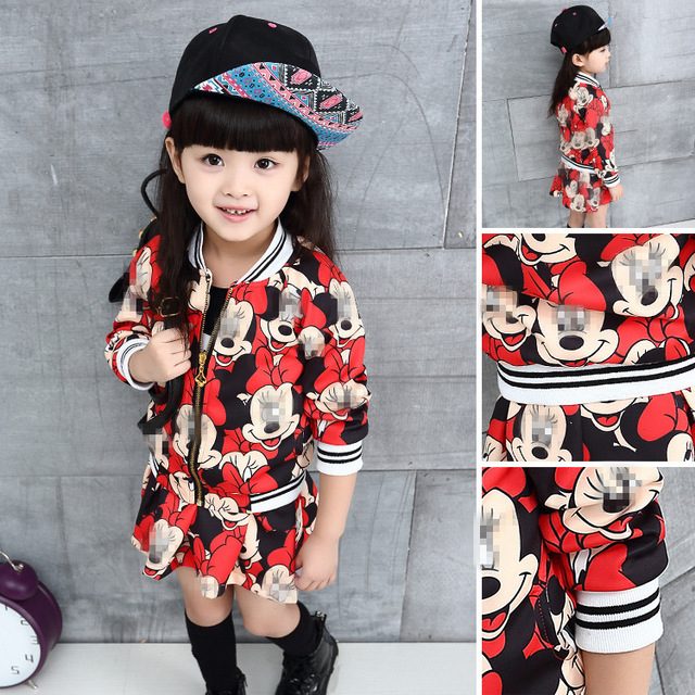 Children Girl Minnie Mickey Set Mouse Dresses Suit Sport Kids Cartoon Long Sleeved Skirt Two Suit 2016 Clothing 2-7years Cotton