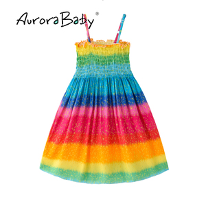 Image 1 - AuroraBaby Toddler Girls Maxi Dress For Summer Beach Casual Floral Printed Little Girl Dress Bohemian Style  Free Necklace