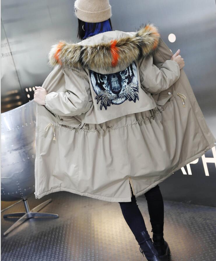Fourrure Mode Automne 2019 Nouvelles D'hiver Taille Plus De kaki Manteau Doublure Veste Grande Et Noir Lapin gris Long Femmes Amovible Col xxv8r4dw