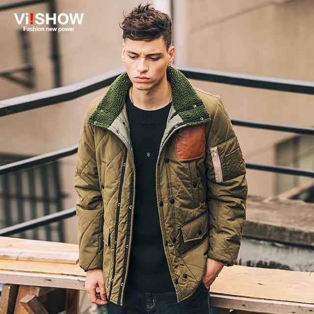 Viishow Moda Hombres Chaqueta de Invierno 2016 Marca de Ropa de Los Hombres Verdes del Ejército