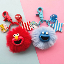 2019 new Creative Sesame Street Key Chain Cartoon Elmo Ring Car Purse Bag Pendant Figure toys for kids gift