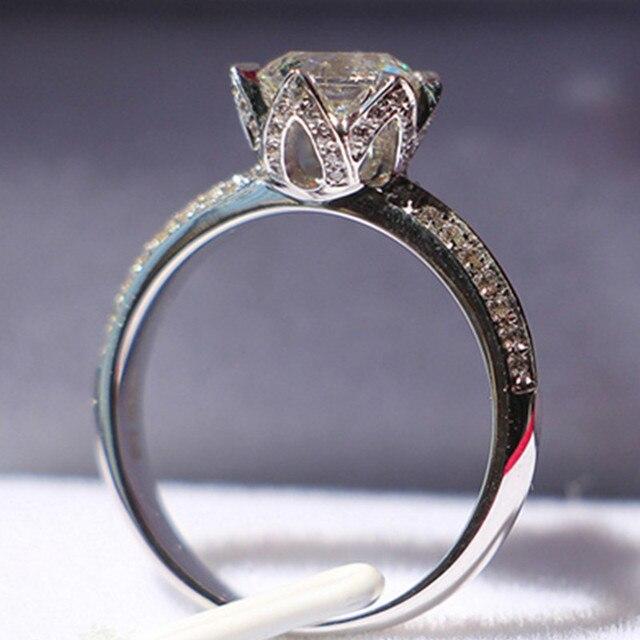 74892162efb6 Prueba real Lotus joyería vintage 1CT moissanite Diamante Real 14 K oro  blanco Lotus Anillo Compromiso