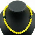 Vintage Classic Natural Stone Jewelry Noble Fabulous Yellow Sapphires Beaded with Green Tourmaline Chain  Necklace 47 cm