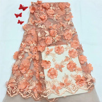 HFX Latest High Quality African Tulle Lace Fabric Embroidered Peach 3d Flower Nigeria Net Lace Fabric for Lady X1239 1