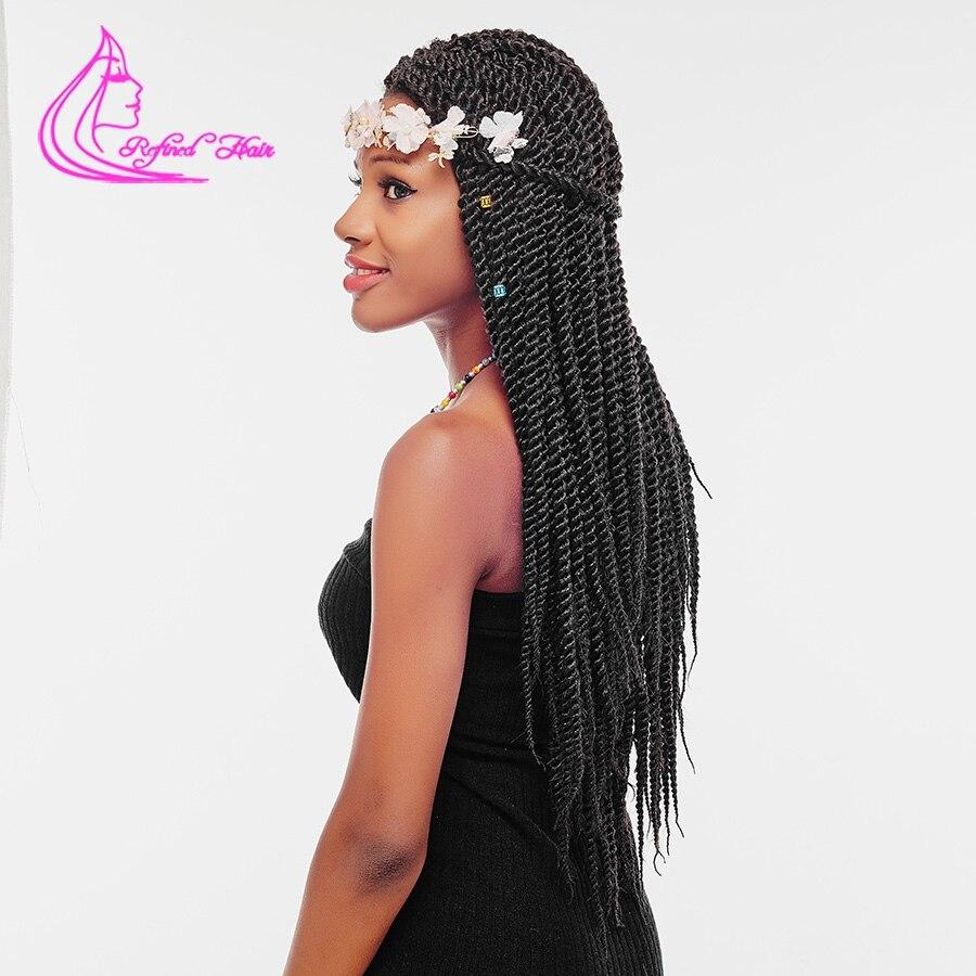 Изысканный волос 12 14 16 18 22 Inch корни вязанная косами Сенегальский крутить Ombre канекалон крючком коса, плетение волос расширения