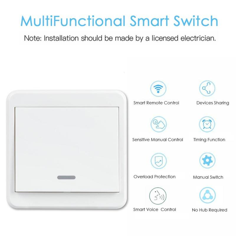 QIACHIP UK Plug AC 110V 220V 1 Gang WiFi Smart Home Switch Light Wall Switch APP Remote Control Switch Work With Amazon Alexa qiachip uk plug wifi smart 1 2 3 gang light wall panel switch app control work with amazon alexa google home push button switch