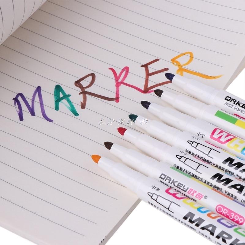 12 cores branco marcador seco nao toxico apagar marcador sinal fino nib conjunto material escolar