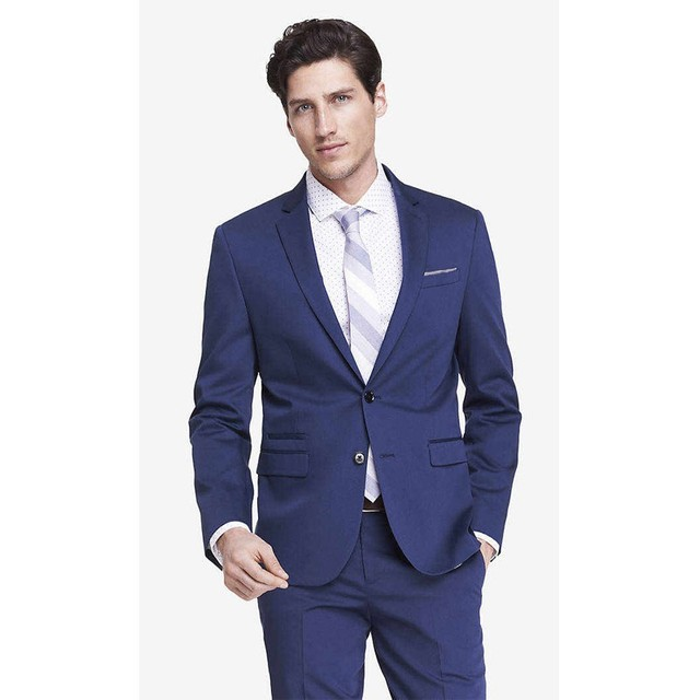Blue Tuxedos for Grooms Weddings Cheap Mens Suits Slim Fit Two ...