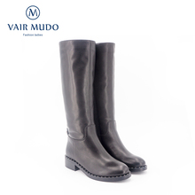 VAIR MUDO New High Quality Handmade Women's Winter Boots Knee High Genuine Leather thick heel Wool Warm Lady Snow Boots ZT3 2014 winter new arrival child color block decoration snow boots genuine leather thermal plus velvet female child knee high baby