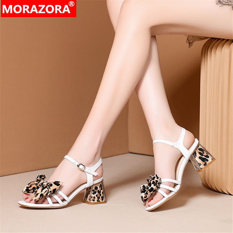MORAZORA 2019 new arrival women sandals high quality genuine leather shoes leopard summer high heels dress party shoes woman MORAZORA 2019 new arrival women sandals high quality genuine leather shoes leopard summer high heels dress party shoes woman