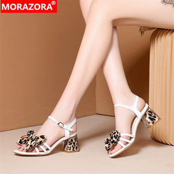 MORAZORA 2019 new arrival women sandals high quality genuine leather shoes leopard summer high heels dress party shoes woman